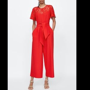 Red Hot Zara Crop Lace Jumpsuit